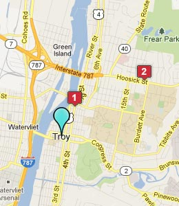 Map of Troy, NY hotels
