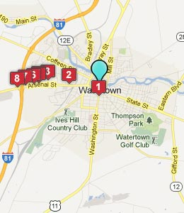 Map of Watertown, NY hotels