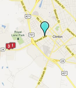 Map of Clinton, NC hotels