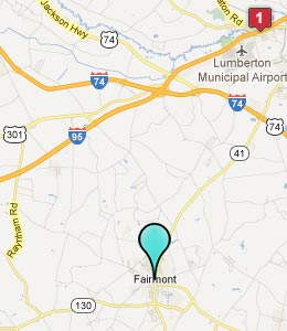 Map of Fairmont, NC hotels