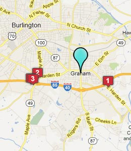 Map of Graham, NC hotels
