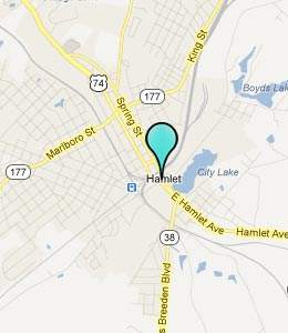 Map of Hamlet, NC hotels