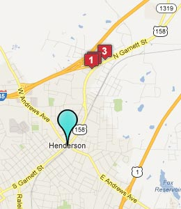 Map of Henderson, NC hotels