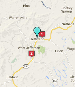 Map of Jefferson, NC hotels