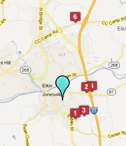 Map of Jonesville, NC hotels