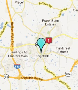 Map of Knightdale, NC hotels