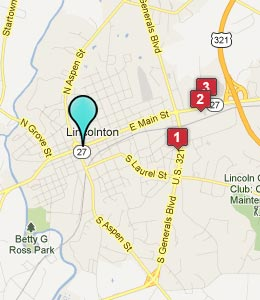 Map of Lincolnton, NC hotels