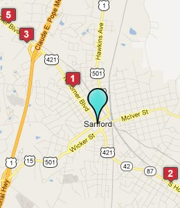 Map of Sanford, NC hotels