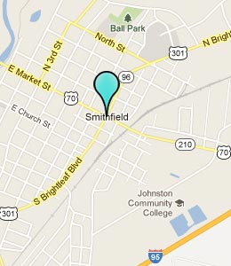 Map of Smithfield, NC hotels