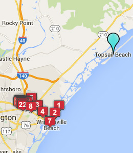 Map of Topsail Beach, NC hotels