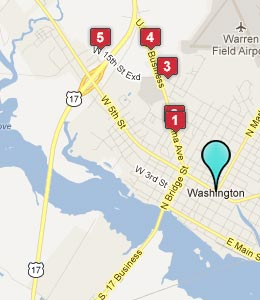 Map of Washington, NC hotels
