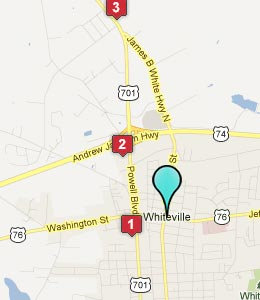 Map of Whiteville, NC hotels