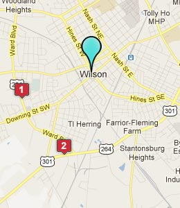 Map of Wilson, NC hotels