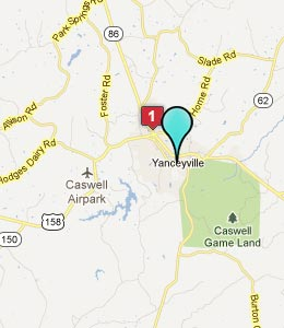 Map of Yanceyville, NC hotels
