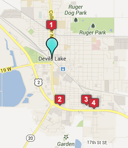 Map of Devils Lake, ND hotels