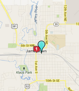 Map of Jamestown, ND hotels