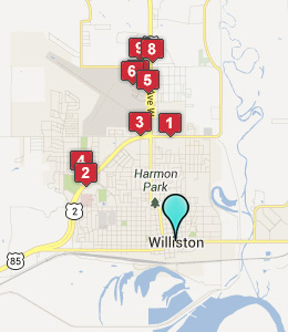Map of Williston, ND hotels