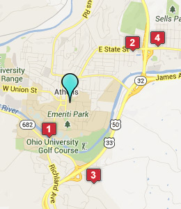 Map of Athens, OH hotels