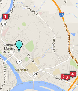 Map of Marietta, OH hotels