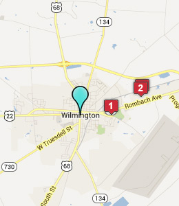 Map of Wilmington, OH hotels
