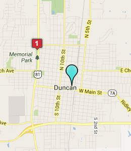 Map of Duncan, OK hotels