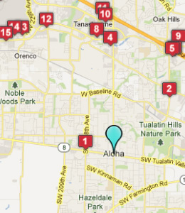 Map of Aloha, OR hotels