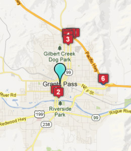 Map of Grants Pass, OR hotels