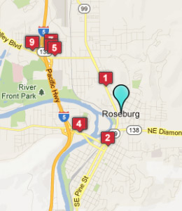 Map of Roseburg, OR hotels