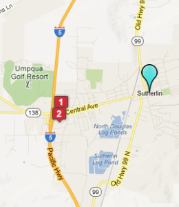 Map of Sutherlin, OR hotels