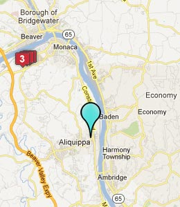 Map of Aliquippa, PA hotels