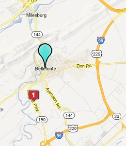 Map of Bellefonte, PA hotels