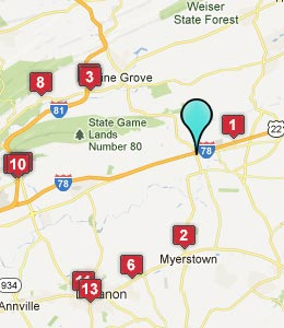 Map of Bethel, PA hotels