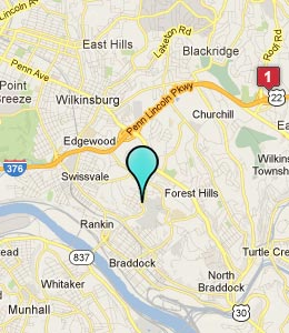 Map of Braddock Hills, PA hotels