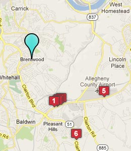 Map of Brentwood, PA hotels