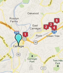 Map of Carnegie, PA hotels