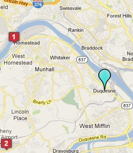 Map of Duquesne, PA hotels