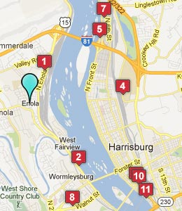 Map of Enola, PA hotels