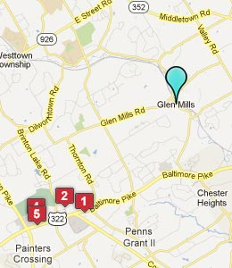Map of Glen Mills, PA hotels