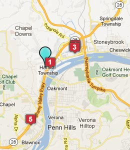 Map of Harmarville, PA hotels