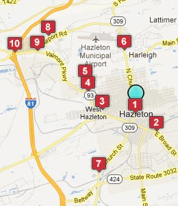 Map of Hazleton, PA hotels