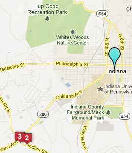 Map of Indiana, PA hotels