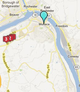 Map of Monaca, PA hotels