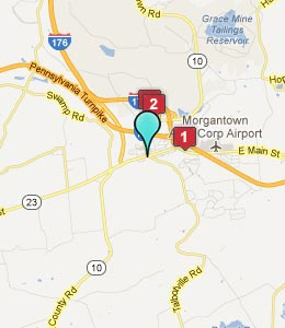 Map of Morgantown, PA hotels