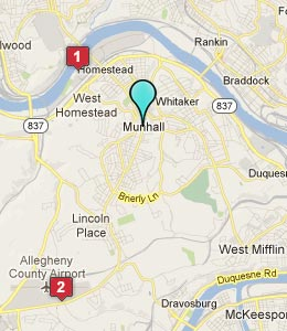 Map of Munhall, PA hotels