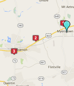 Map of Myerstown, PA hotels