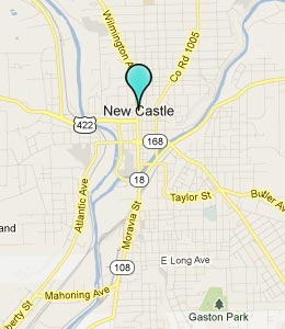 Map of New Castle, PA hotels