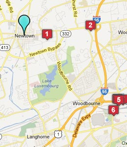 Map of Newtown, PA hotels