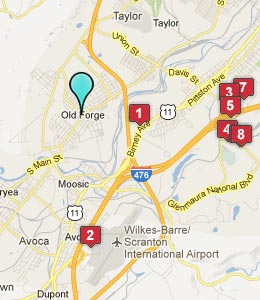 Map of Old Forge, PA hotels