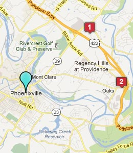 Map of Phoenixville, PA hotels
