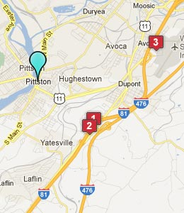 Map of Pittston, PA hotels